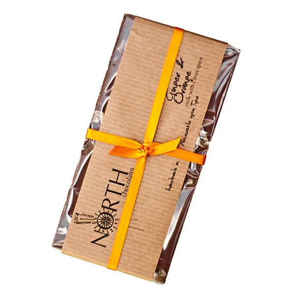 ginger & orange dark chocolate bar